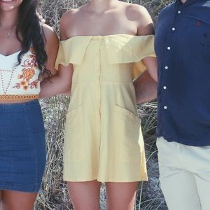 Yellow Off the Shoulder Button Down Dress